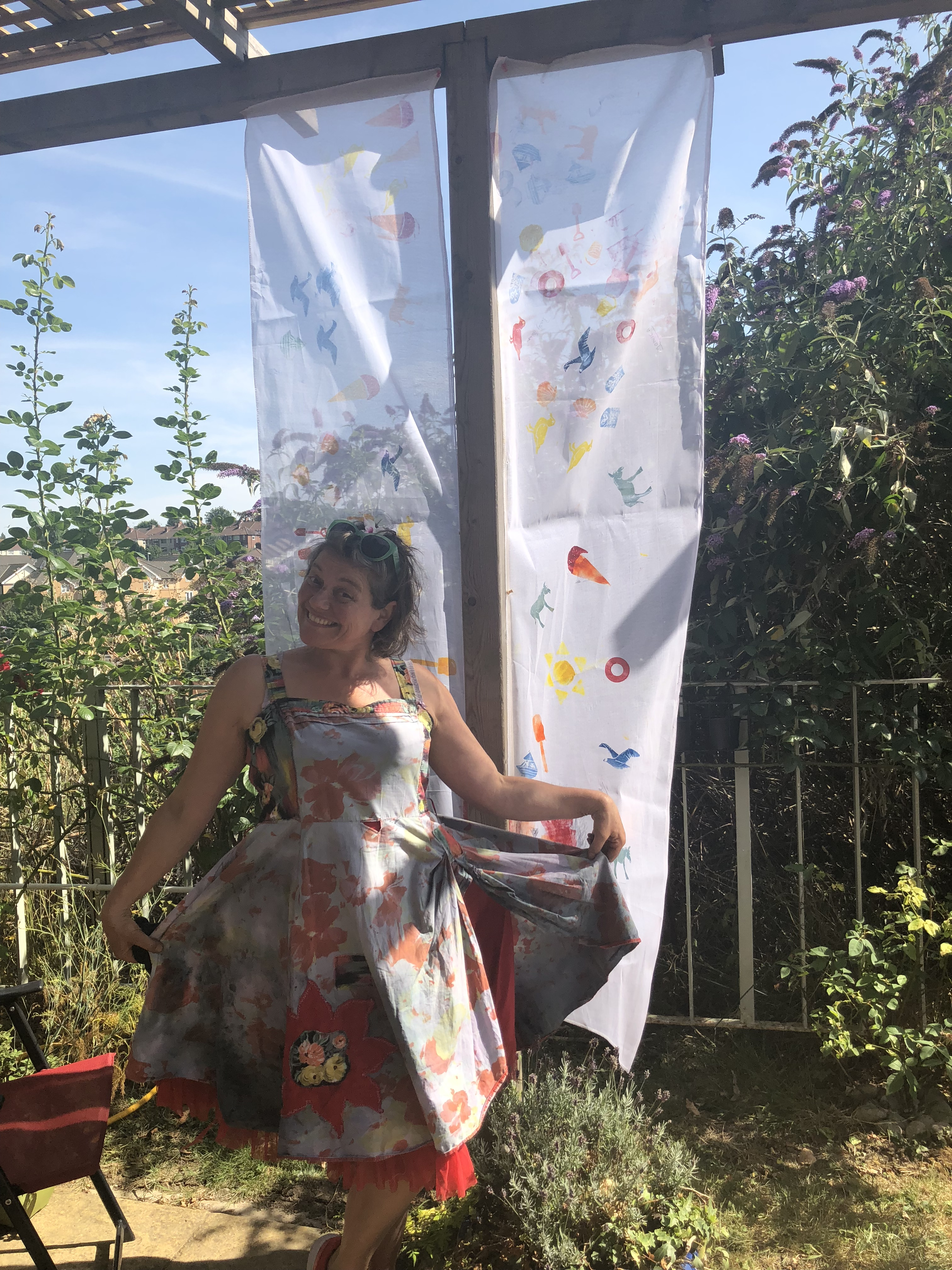 ad58d418931 We had an amazing afternoon designing and creating two printed banners for  our garden, how lovely do they look? We really enjoyed choosing what shapes  and ...